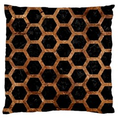 Hexagon2 Black Marble & Brown Stone Large Cushion Case (two Sides) by trendistuff