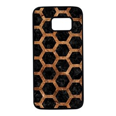 Hexagon2 Black Marble & Brown Stone Samsung Galaxy S7 Black Seamless Case