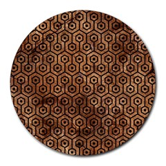 Hexagon1 Black Marble & Brown Stone (r) Round Mousepad by trendistuff