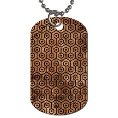 Hexagon1 Black Marble & Brown Stone (r) Dog Tag (two Sides) by trendistuff