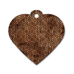 Hexagon1 Black Marble & Brown Stone (r) Dog Tag Heart (one Side) by trendistuff