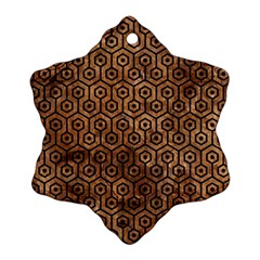 Hexagon1 Black Marble & Brown Stone (r) Snowflake Ornament (two Sides) by trendistuff