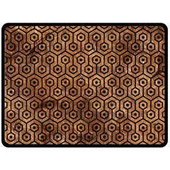 Hexagon1 Black Marble & Brown Stone (r) Double Sided Fleece Blanket (large) by trendistuff