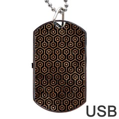 Hexagon1 Black Marble & Brown Stone Dog Tag Usb Flash (one Side) by trendistuff