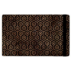 Hexagon1 Black Marble & Brown Stone Apple Ipad 2 Flip Case by trendistuff