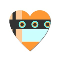 Orange, Aqua, Black Spots And Stripes Heart Magnet by digitaldivadesigns