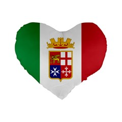 Naval Ensign Of Italy Standard 16  Premium Flano Heart Shape Cushions by abbeyz71
