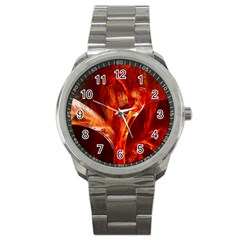 Red Abstract Pattern Texture Sport Metal Watch by Nexatart