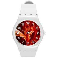 Red Abstract Pattern Texture Round Plastic Sport Watch (m) by Nexatart