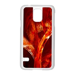 Red Abstract Pattern Texture Samsung Galaxy S5 Case (white) by Nexatart