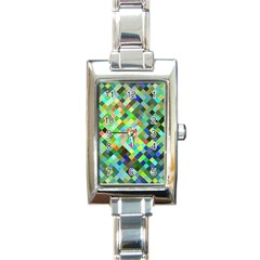 Pixel Pattern A Completely Seamless Background Design Rectangle Italian Charm Watch by Nexatart