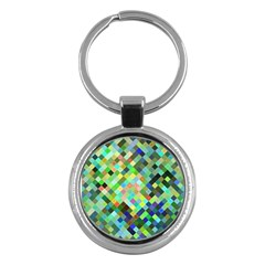 Pixel Pattern A Completely Seamless Background Design Key Chains (round)  by Nexatart