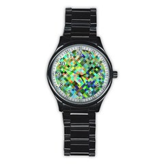 Pixel Pattern A Completely Seamless Background Design Stainless Steel Round Watch