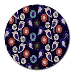 Cute Birds Seamless Pattern Round Mousepads by Nexatart
