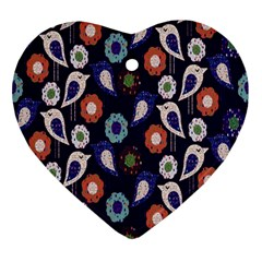 Cute Birds Seamless Pattern Ornament (heart) by Nexatart