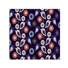 Cute Birds Seamless Pattern Small Satin Scarf (square)