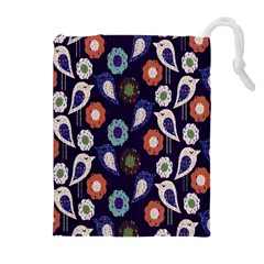 Cute Birds Seamless Pattern Drawstring Pouches (extra Large) by Nexatart