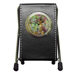 Woven Colorful Abstract Background Of A Tight Weave Pattern Pen Holder Desk Clocks