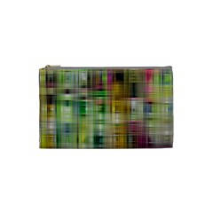 Woven Colorful Abstract Background Of A Tight Weave Pattern Cosmetic Bag (small)  by Nexatart