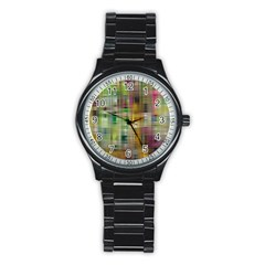 Woven Colorful Abstract Background Of A Tight Weave Pattern Stainless Steel Round Watch
