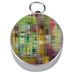 Woven Colorful Abstract Background Of A Tight Weave Pattern Silver Compasses by Nexatart