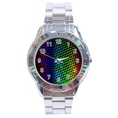 Digitally Created Halftone Dots Abstract Stainless Steel Analogue Watch by Nexatart