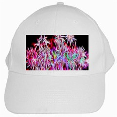 Fractal Fireworks Display Pattern White Cap by Nexatart
