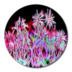 Fractal Fireworks Display Pattern Round Mousepads by Nexatart