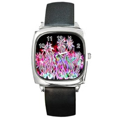 Fractal Fireworks Display Pattern Square Metal Watch by Nexatart