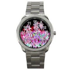 Fractal Fireworks Display Pattern Sport Metal Watch