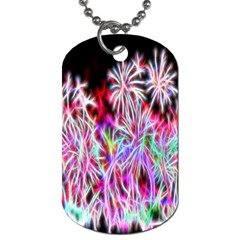 Fractal Fireworks Display Pattern Dog Tag (one Side) by Nexatart