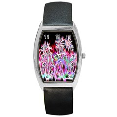 Fractal Fireworks Display Pattern Barrel Style Metal Watch by Nexatart