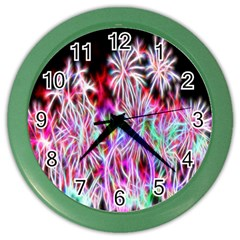 Fractal Fireworks Display Pattern Color Wall Clocks by Nexatart