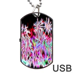 Fractal Fireworks Display Pattern Dog Tag Usb Flash (two Sides) by Nexatart