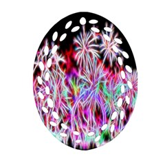 Fractal Fireworks Display Pattern Oval Filigree Ornament (two Sides) by Nexatart