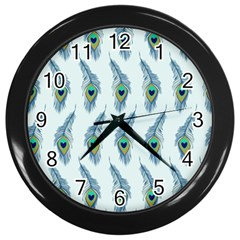 Background Of Beautiful Peacock Feathers Wall Clocks (black) by Nexatart