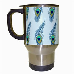 Background Of Beautiful Peacock Feathers Travel Mugs (white) by Nexatart