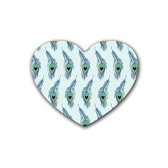 Background Of Beautiful Peacock Feathers Rubber Coaster (heart)  by Nexatart