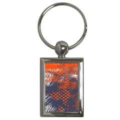 Dark Blue Red And White Messy Background Key Chains (rectangle)