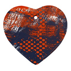 Dark Blue Red And White Messy Background Heart Ornament (two Sides)