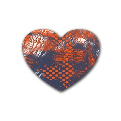 Dark Blue Red And White Messy Background Rubber Coaster (heart)  by Nexatart