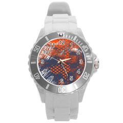 Dark Blue Red And White Messy Background Round Plastic Sport Watch (l)
