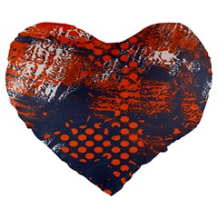 Dark Blue Red And White Messy Background Large 19  Premium Flano Heart Shape Cushions by Nexatart