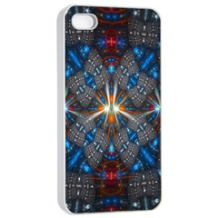Fancy Fractal Pattern Background Accented With Pretty Colors Apple Iphone 4/4s Seamless Case (white)