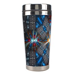 Fancy Fractal Pattern Background Accented With Pretty Colors Stainless Steel Travel Tumblers by Nexatart