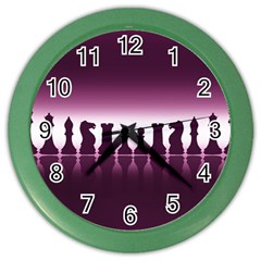 Chess Pieces Color Wall Clocks by Valentinaart