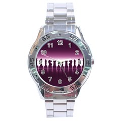 Chess Pieces Stainless Steel Analogue Watch