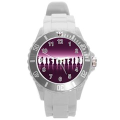 Chess Pieces Round Plastic Sport Watch (l)