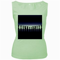 Chess Pieces Women s Green Tank Top