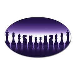 Chess Pieces Oval Magnet by Valentinaart